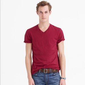 J. Crew Broken-in Vneck Tshirt Medium Maroon